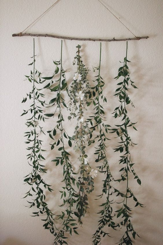Hanging Display with Greenery.  Photo from tablerpartyoftwo.com.