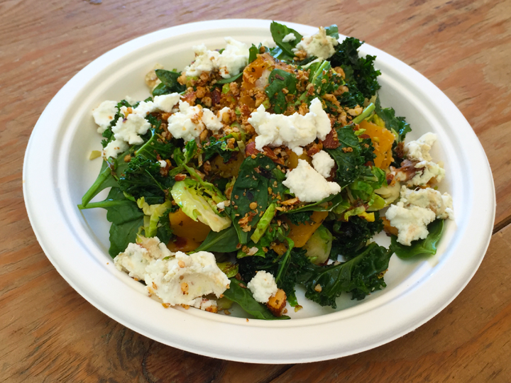 The Haven's Warm Winter Salad of Brussels sprouts, kale, spinach, butternut squash, goat cheese and nuts.