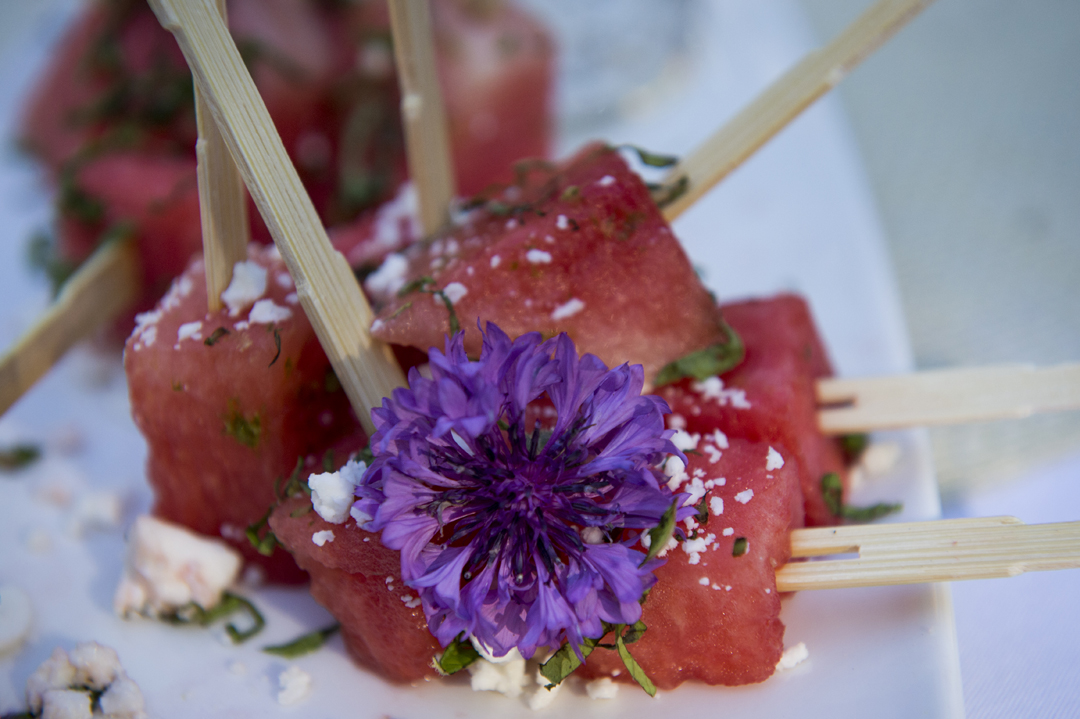 Watermelon skewers with feta and mint