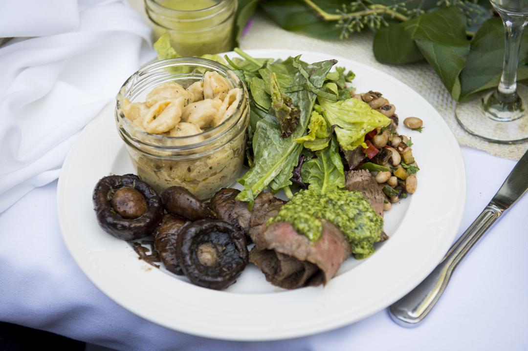 Seared flank steak with chimichurri, roasted cre