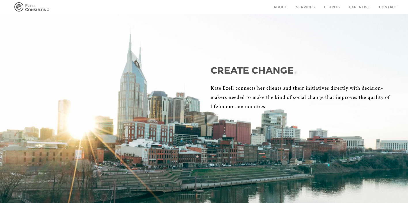 Kate Ezell's  Website homepage feature . Designed On Squarespace by Squarespace pro,  Nicole Delger .