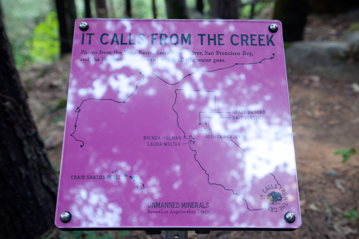 Trailhead map gives overview of poetic markers along the trail.