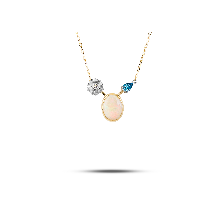 Yellow Gold, Palladium, Diamond, Opal & Blue Topaz  £1700