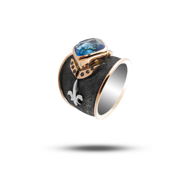 Gold, Silver, Blue Topaz & Black Diamond  POA