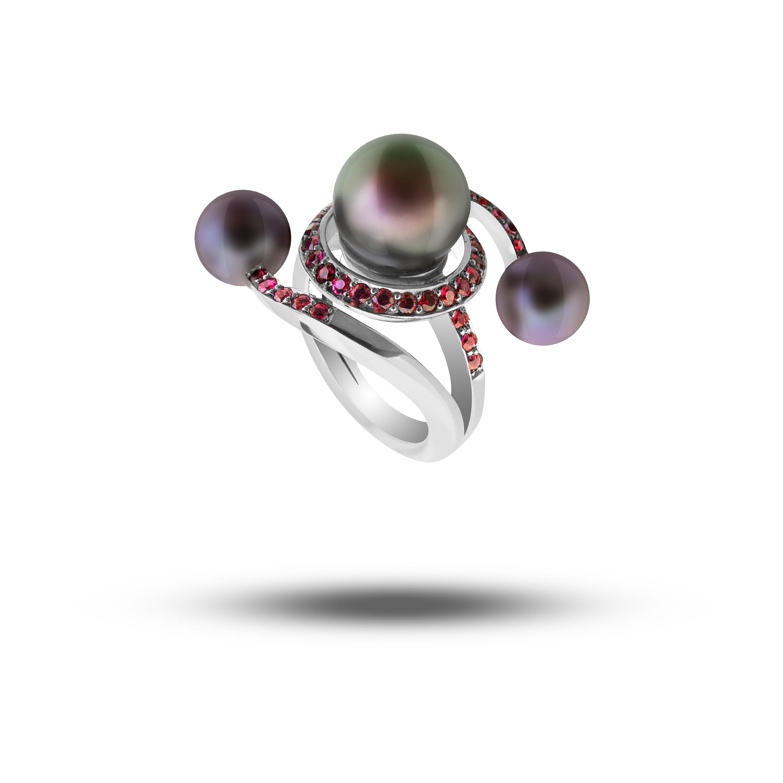 Palladium, Black Pearl & Red Spinel  POA