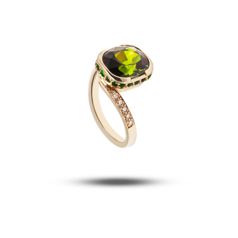 Yellow Gold, Green Sapphire, Diamond & Tsavorite Garnet  POA