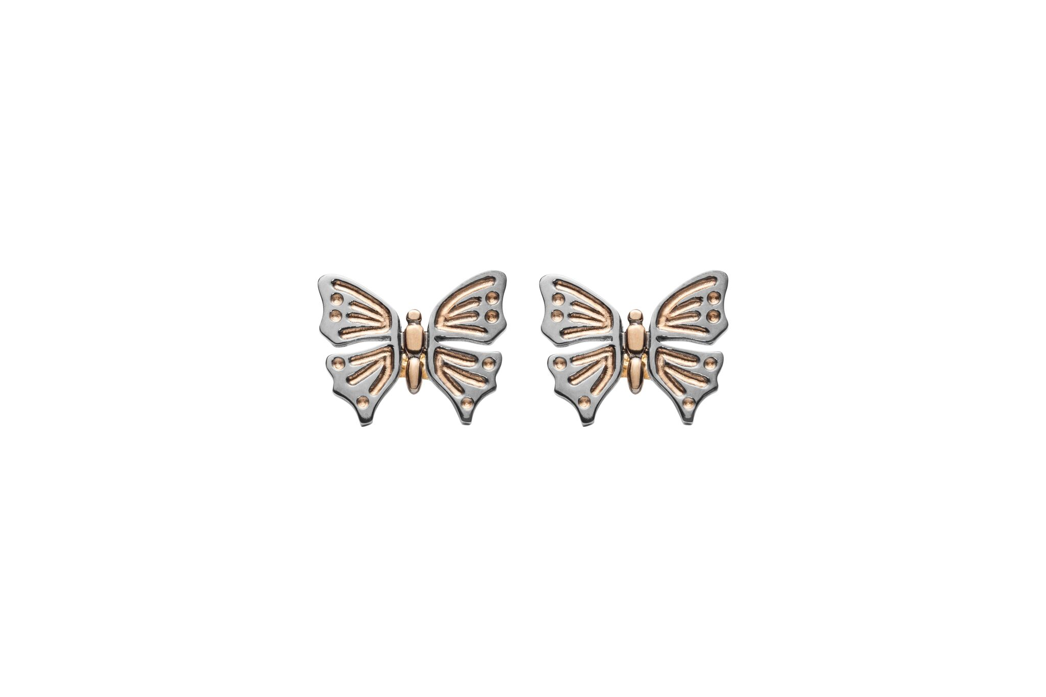Red Gold and Black Rhodium Butterfly Studs  £350