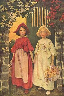 illustration from the fairytale Snow White and Red Rose