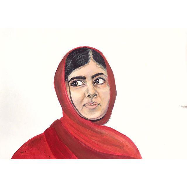 * I am Malala * some progress on a piece I've been working on. 🎒 #Malala #malalayousafzai