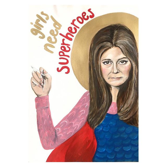 """A little painting of a woman with a HUGE legacy. 🌟 Gloria Steinem is the voice of the feminist movement. An author, an entrepreneur and an advocate for equality, Gloria IS my superhero. I listened to so many YouTube videos of Gloria speaking while painting this, and one thing that really resonated was how she refers to the word """"humanism"""" rather than """"feminism"""". True feminism is not about putting women higher than men, it's about recognising that there should be equal opportunity for everyone, despite their gender, to realise their full potential and to live autonomous lives. #GIRLS #gloriasteinem #feminism #humanism #painting"""