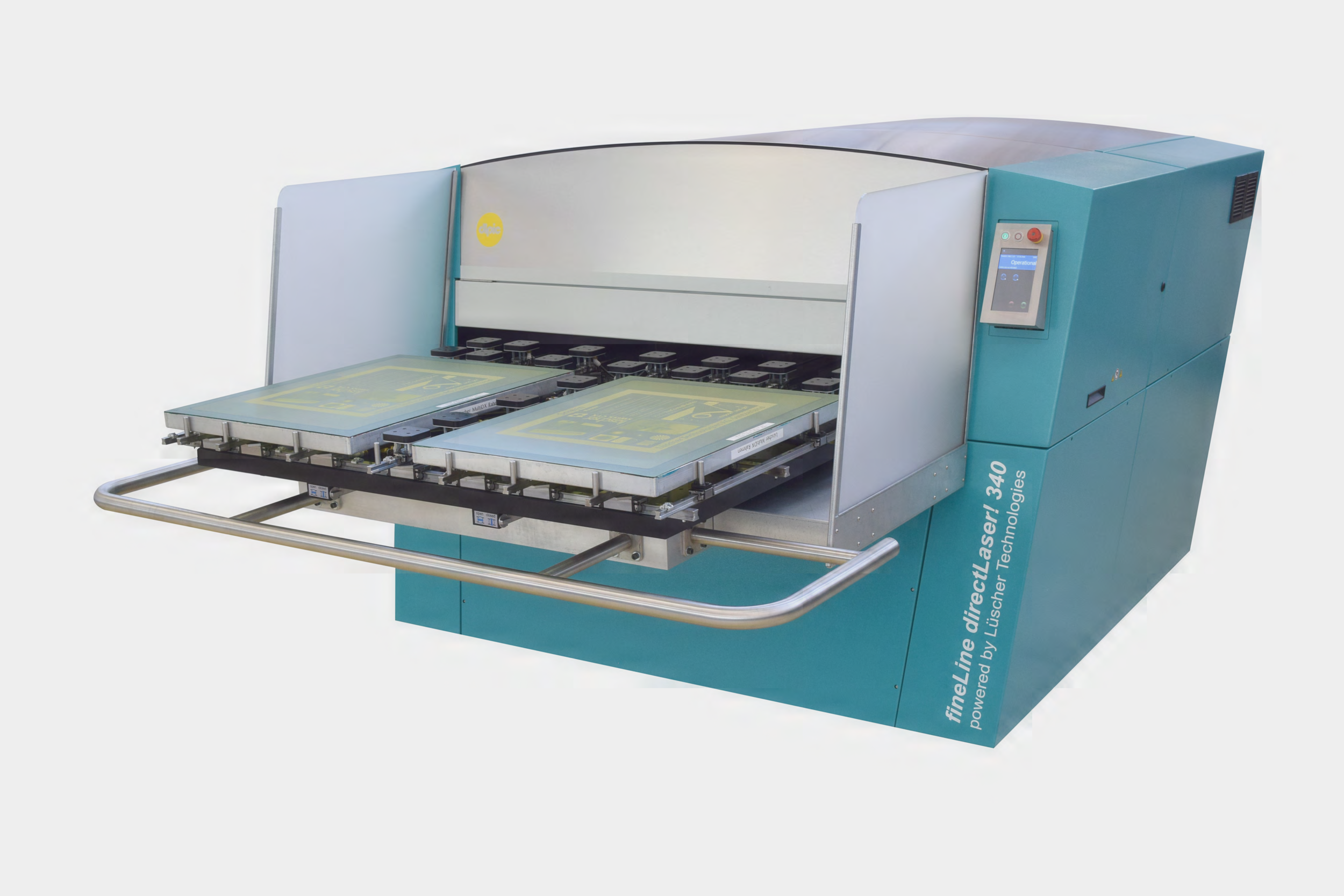 The new   fineLine directLaser!   digital image setter powered by Lüscher Technologies. Direct laser screen imaging technology is derived from lithography and allows imaging/exposing with 1270, 2540 or 5080 dpi in same machine. Highest quality screens produced with any mesh/emulsion/EOM combination at highest throughput.        Photo courtesy of dlp imaging corp. (dlpic), Ronkonkoma, NY — © 2017