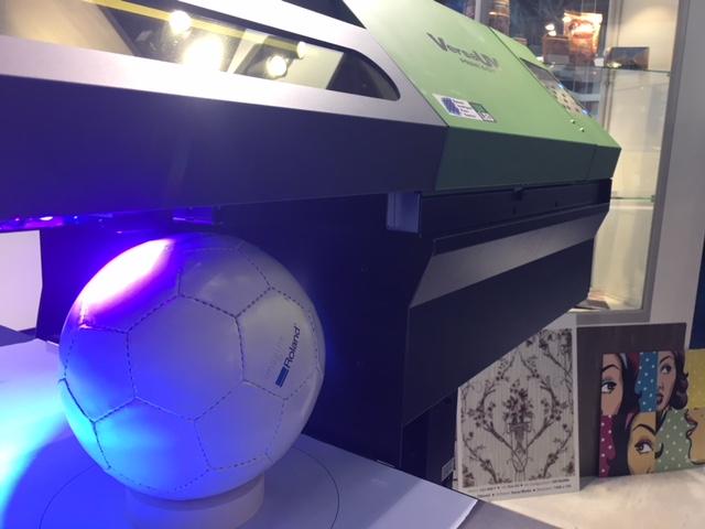 Printing onto footballs with the Roland S-Series UV-LED printer