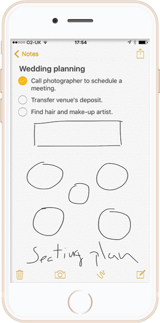 Apple Notes app for Wedding planning