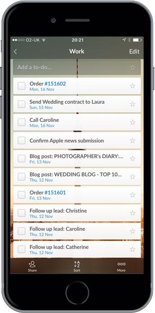 Wunderlist app for iPhone