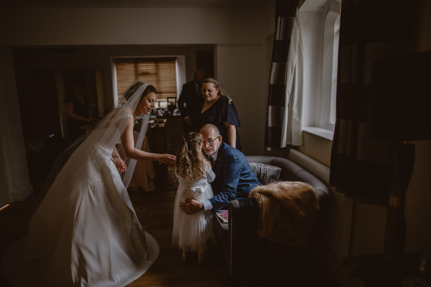 Family of the bride before the ceremony at Peckforton Castle