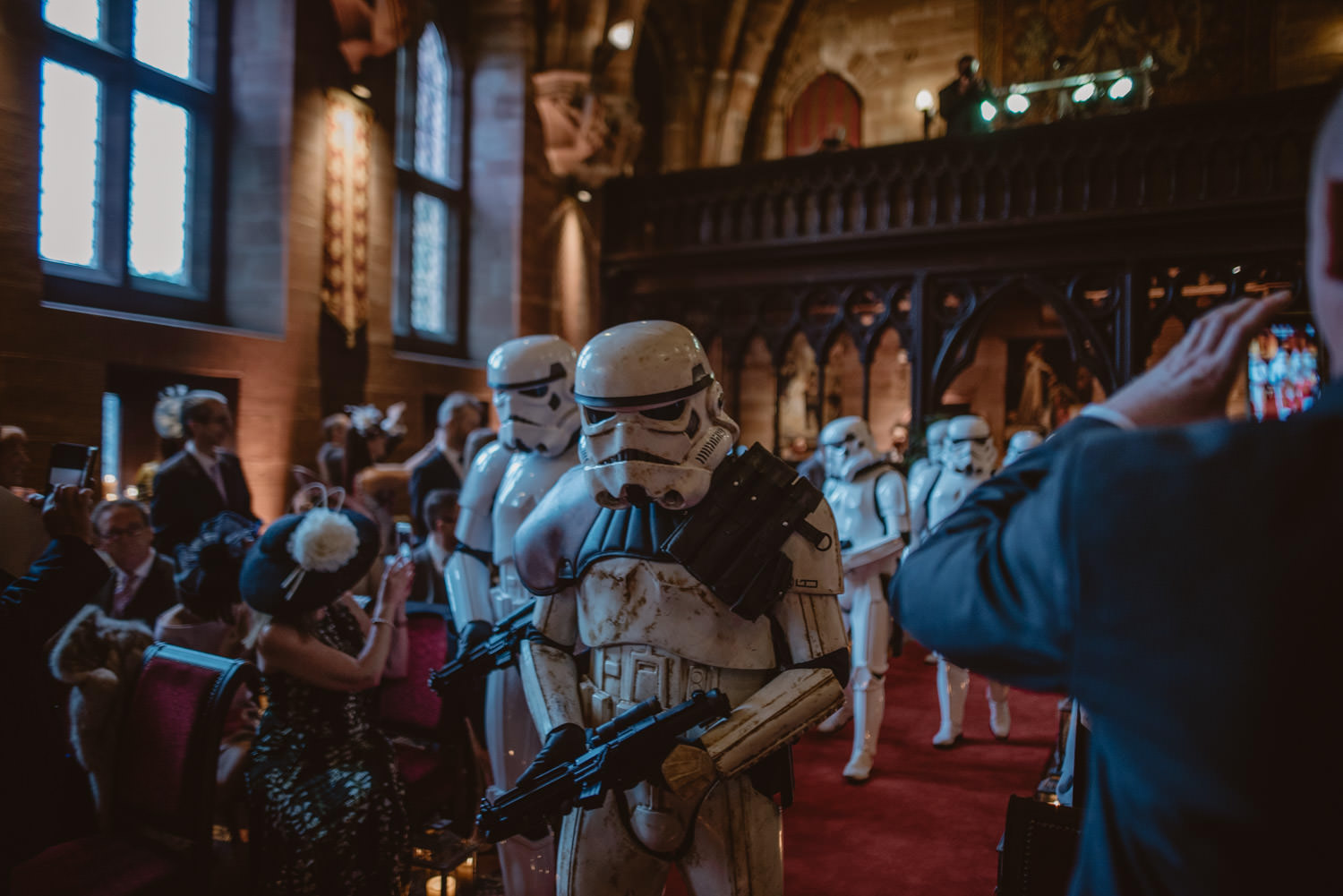 Storm Troppers entering at the wedding ceremony in Peckforton Castle