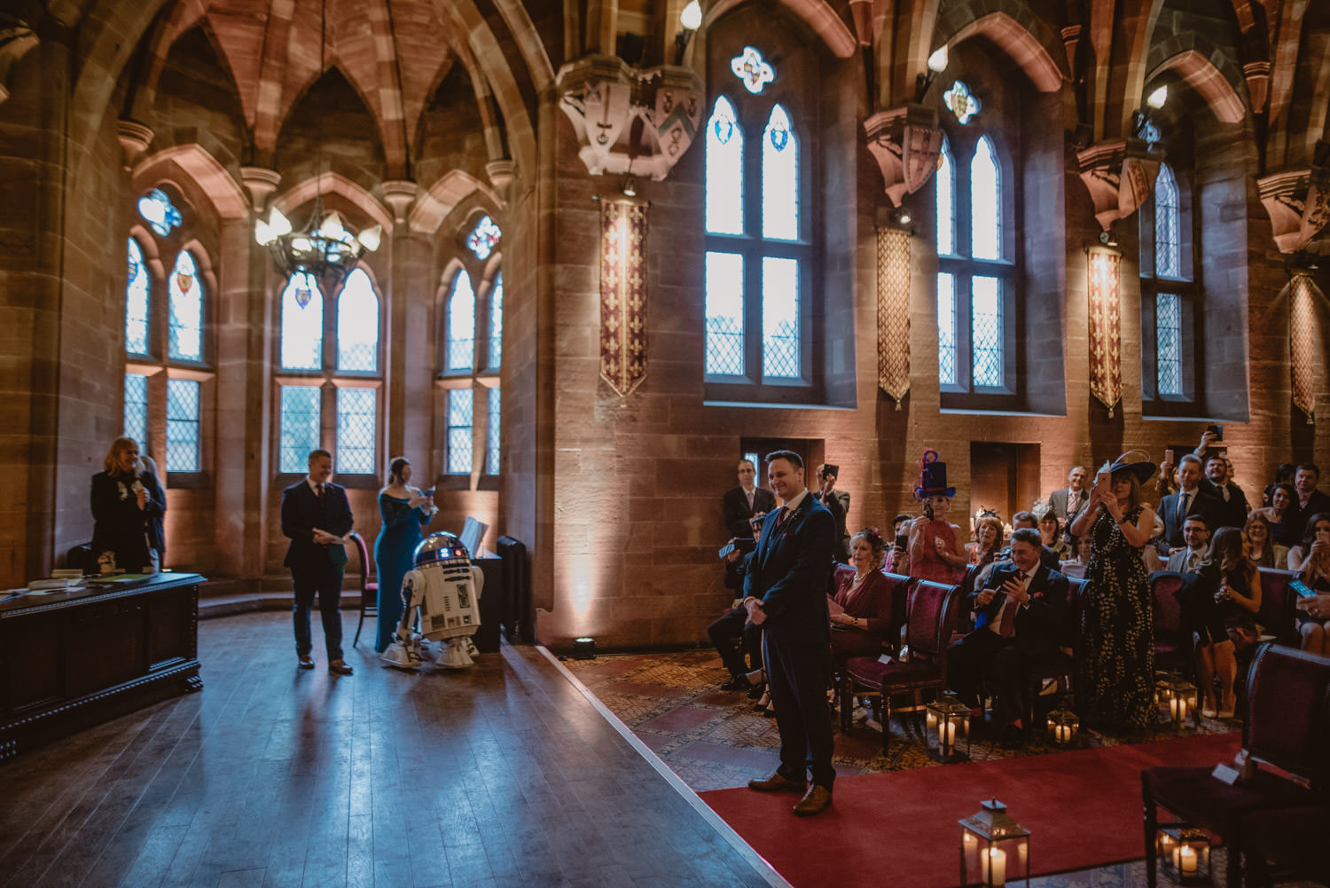 Groom moments before the wedding ceremony at Peckforton Castle