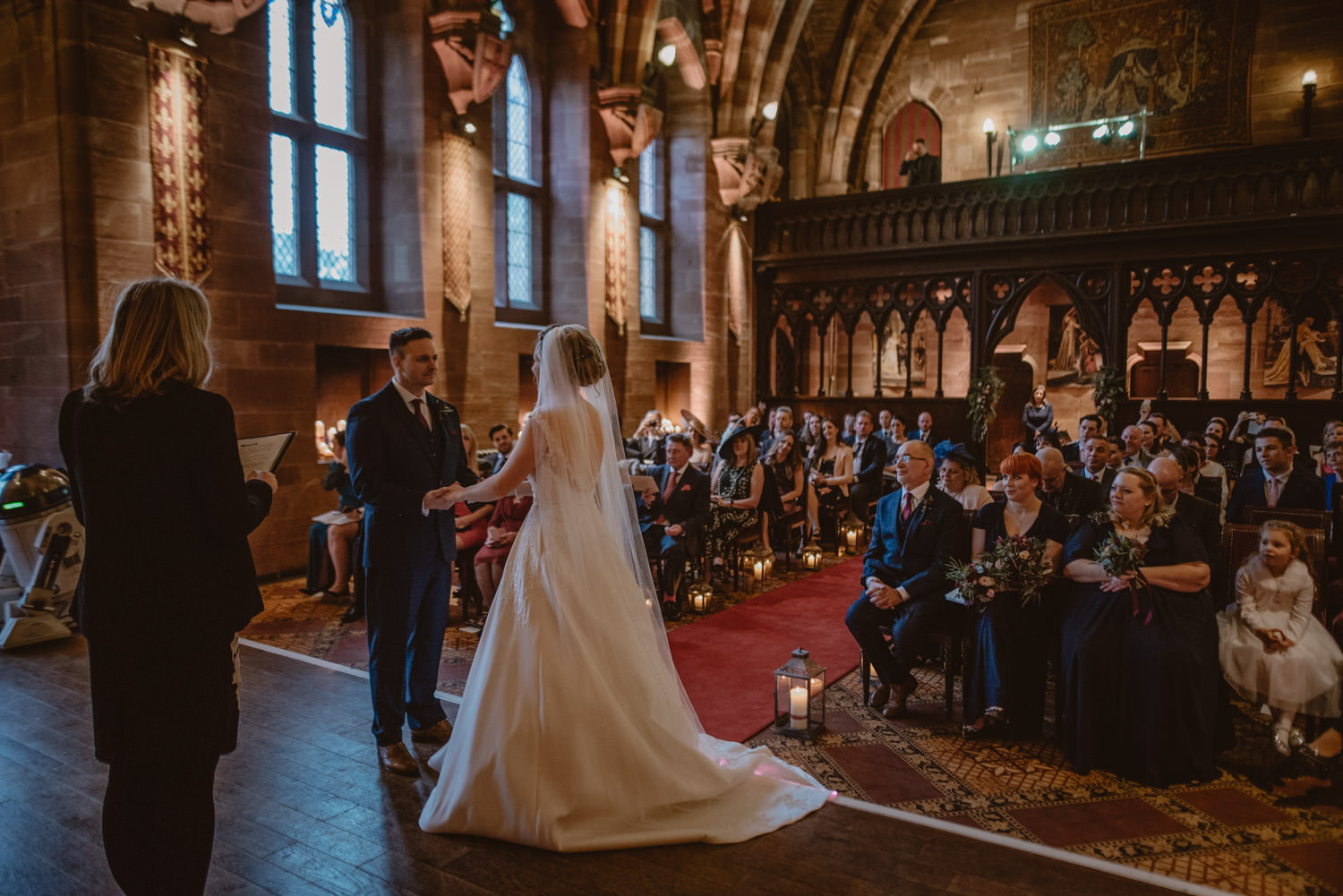 Couple getting married at Peckforton Castle