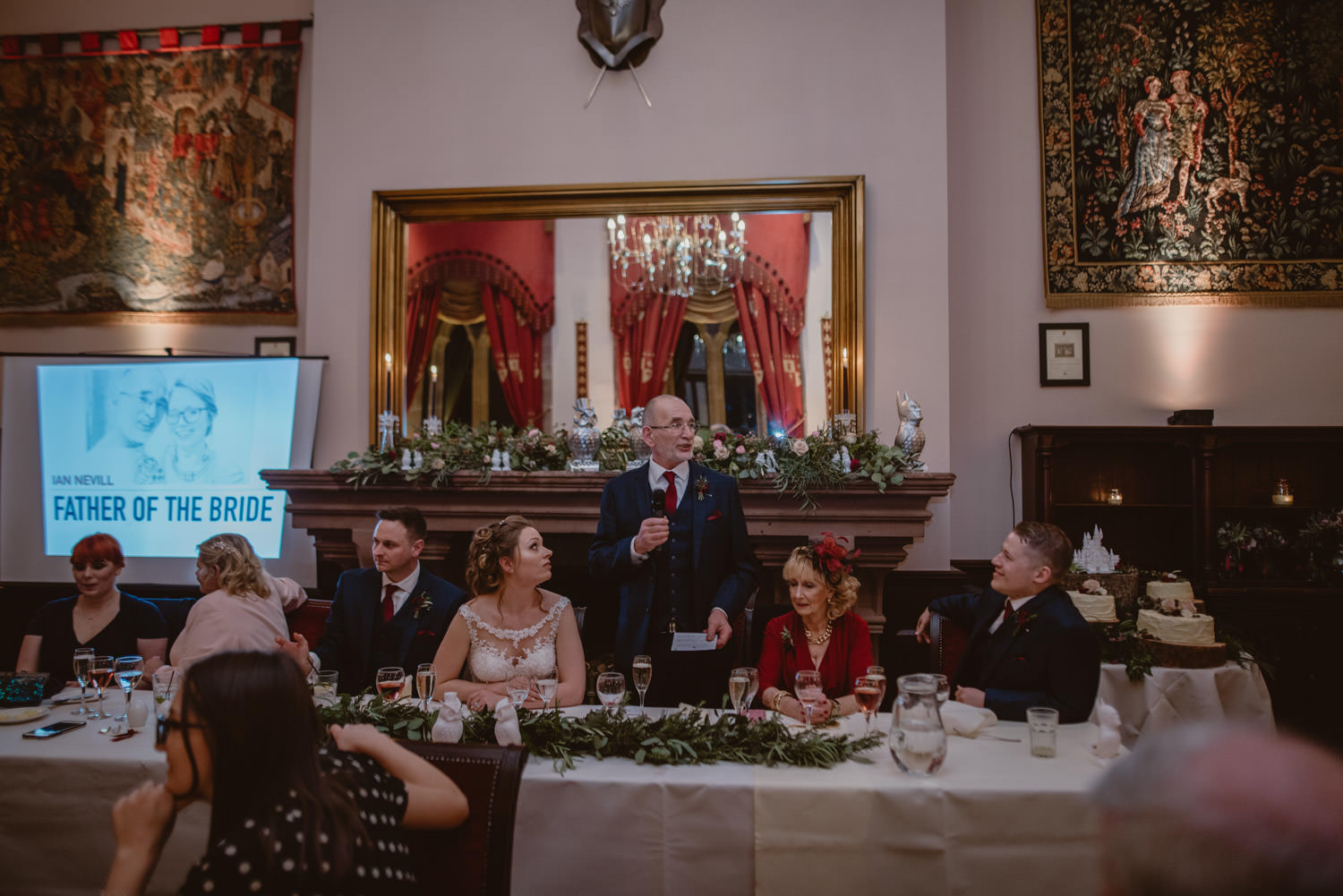 Father of the bride speech during the reception at Peckforton Castle