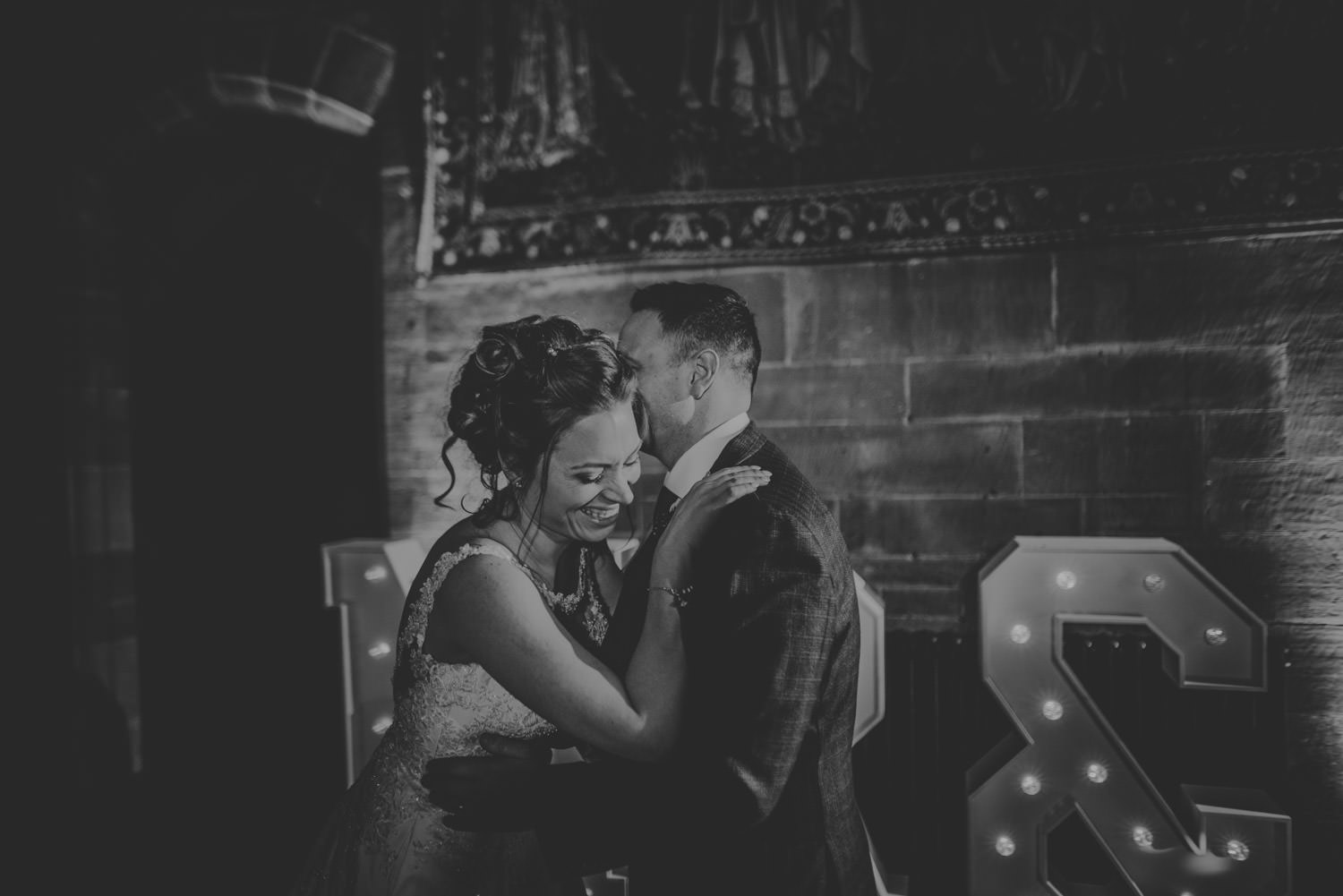 Bride and groom during their first dance at Peckforton Castle