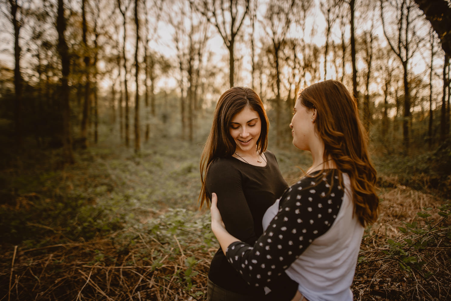 lesbian engagement photos in Savernake Forest in Marlborough, Wiltshire