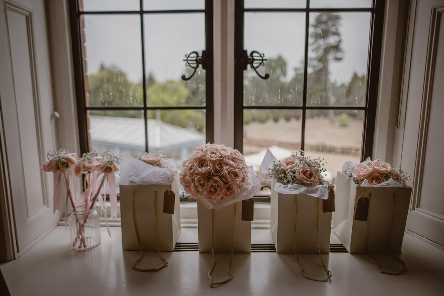 Wedding flowers in a window in The Elvetham, Hampshire