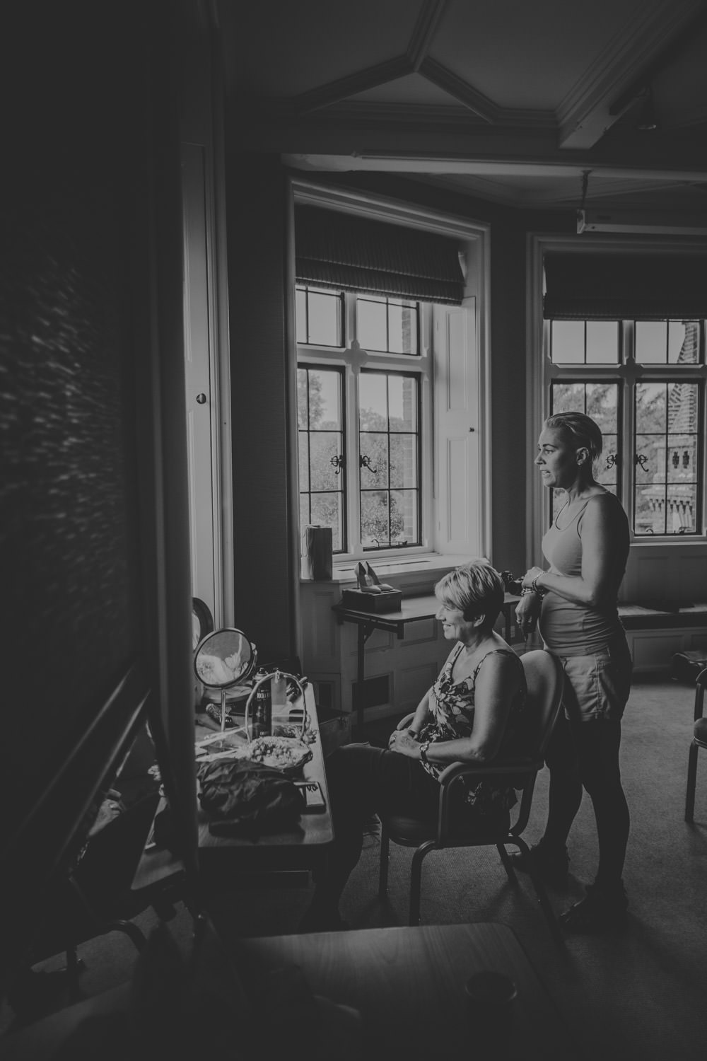 Mother of the bride getting ready at the elvetham hotel in the Seymour room