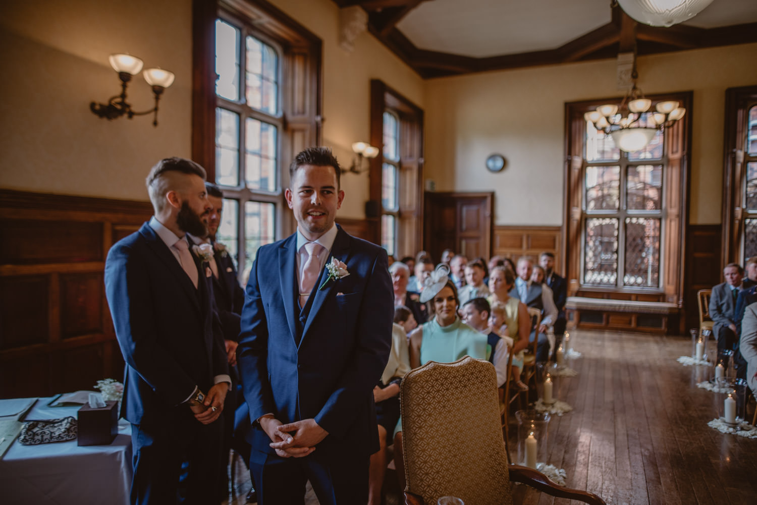 Groom and Best Man waiting for the bride at The Elvetham Hotel