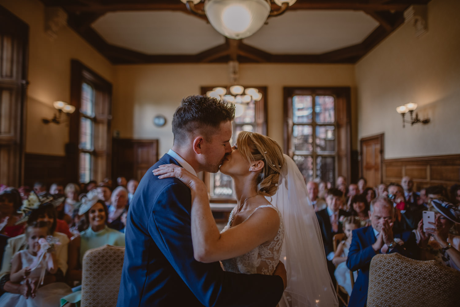 Bride and Groom Kiss at The Elvetham Hotel