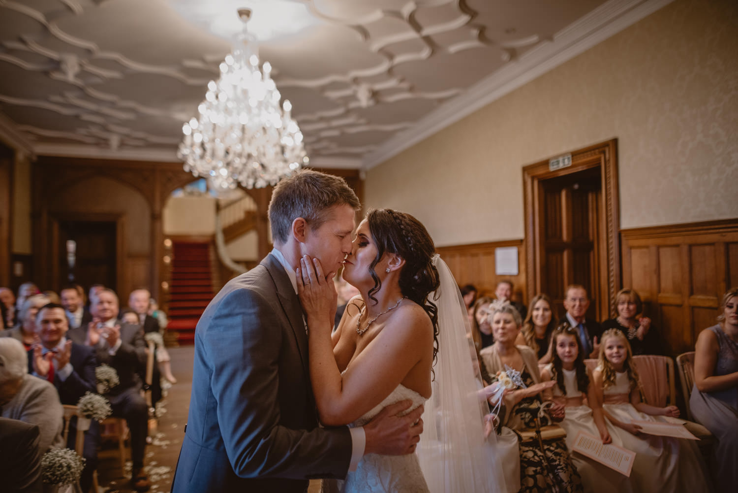 Bride and Groom kiss at their wedding