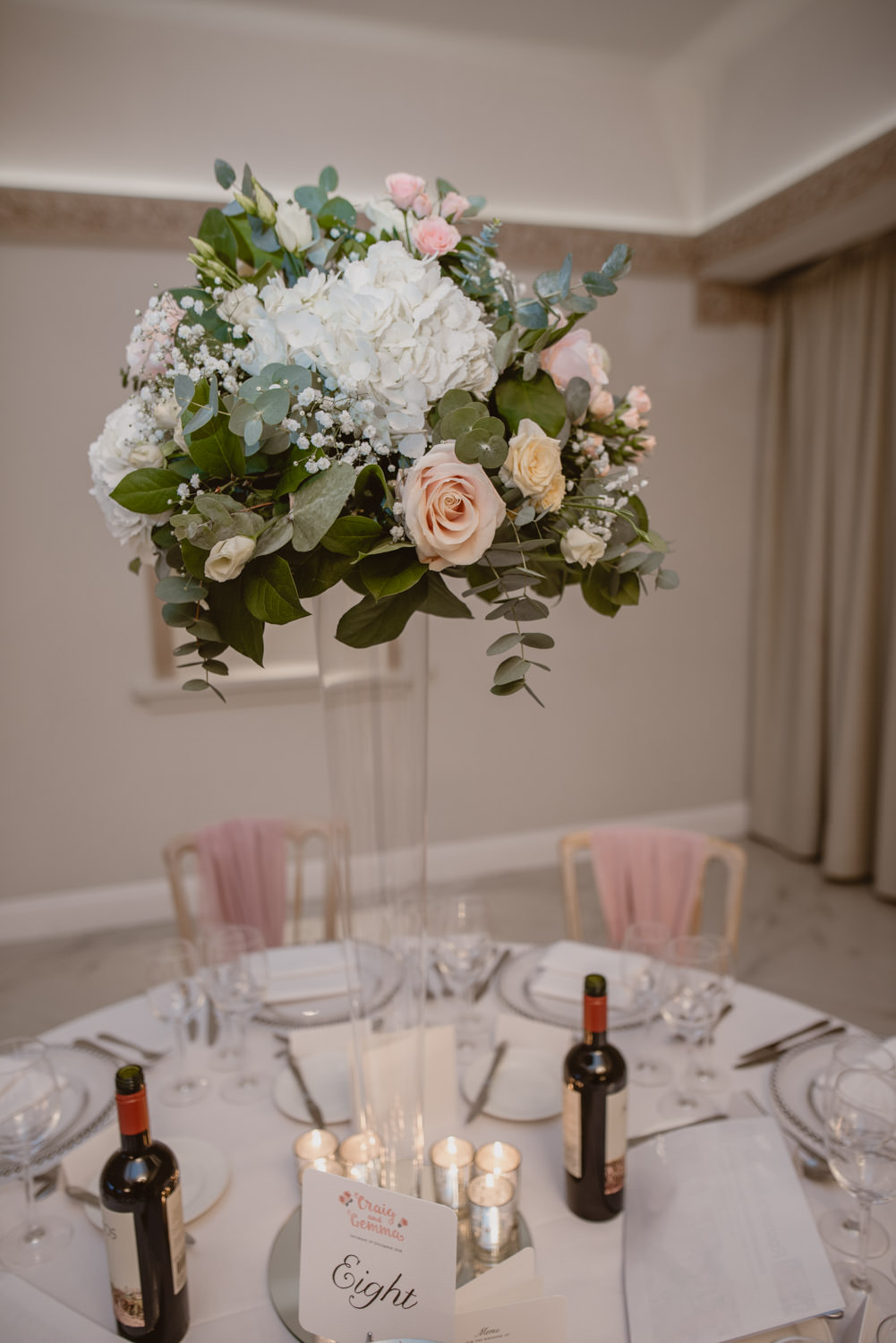 Wedding centrepieces by Paula Rooney Floral Designer