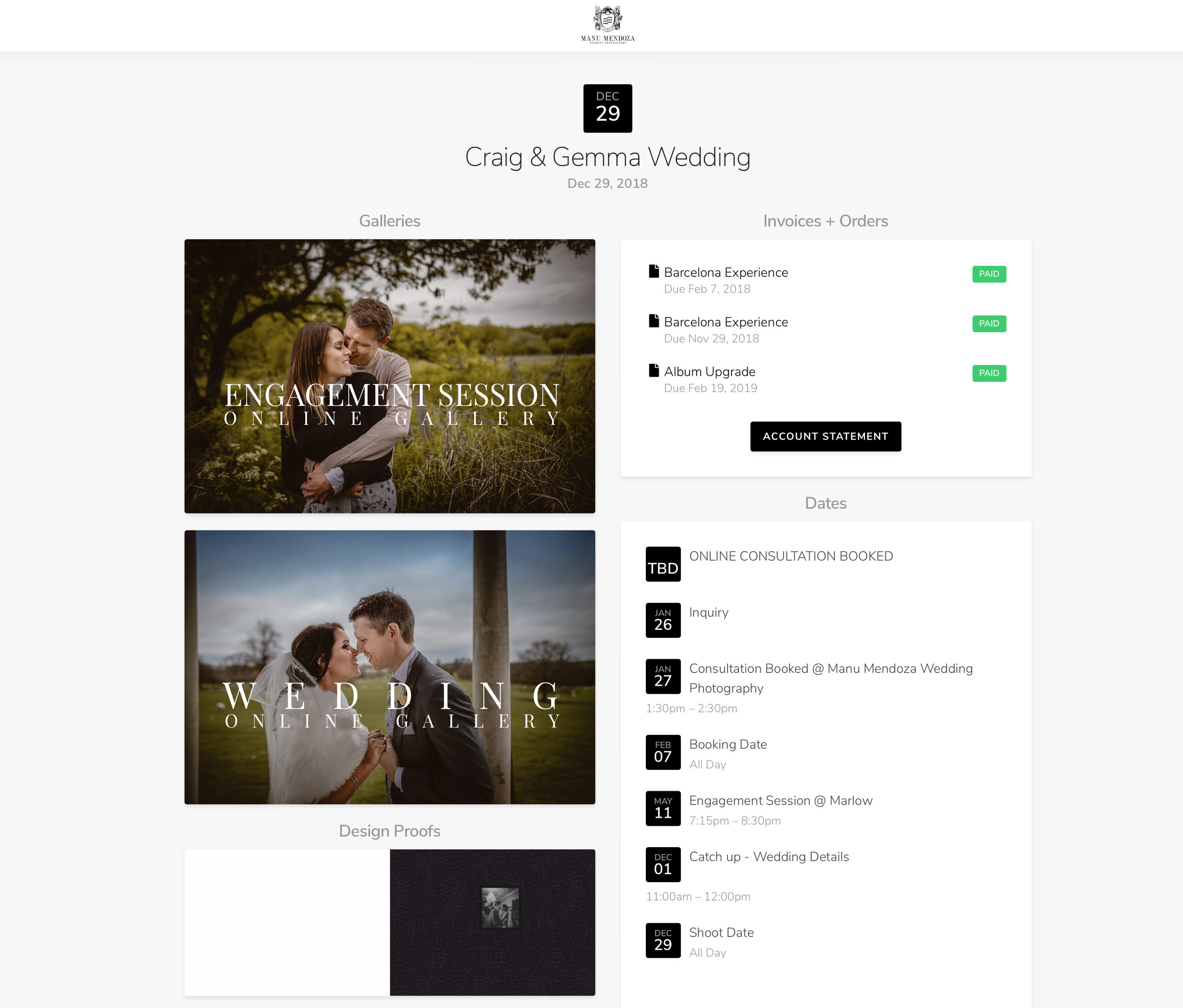 Private Area included in my Wedding Photography Packages