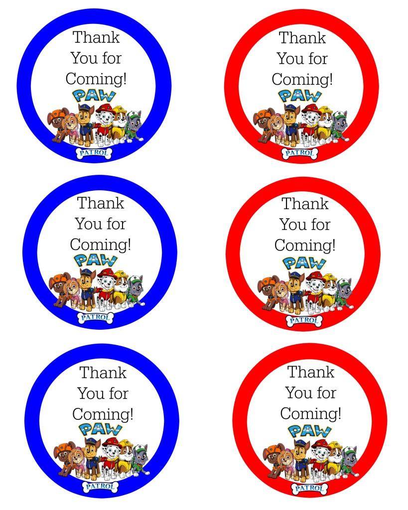 Paw Patrol Thank You Labels Wonder Kids