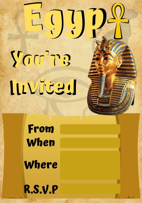 Ancient Egypt Invite from Wonder Kids