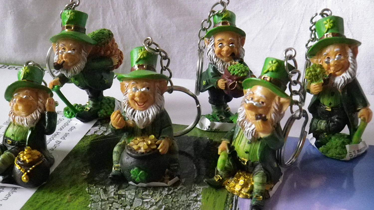 leprechaun Key Rings would work from Amazon