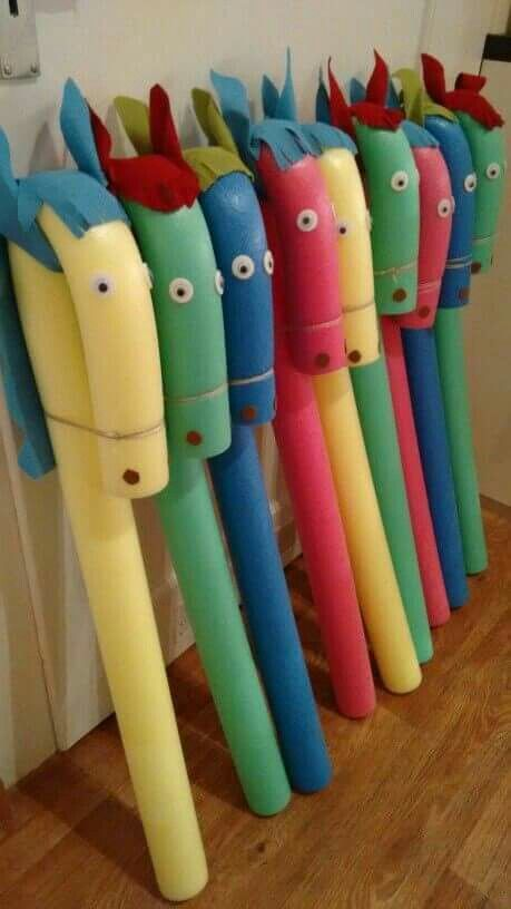 Simple Horses made from a pool noodle