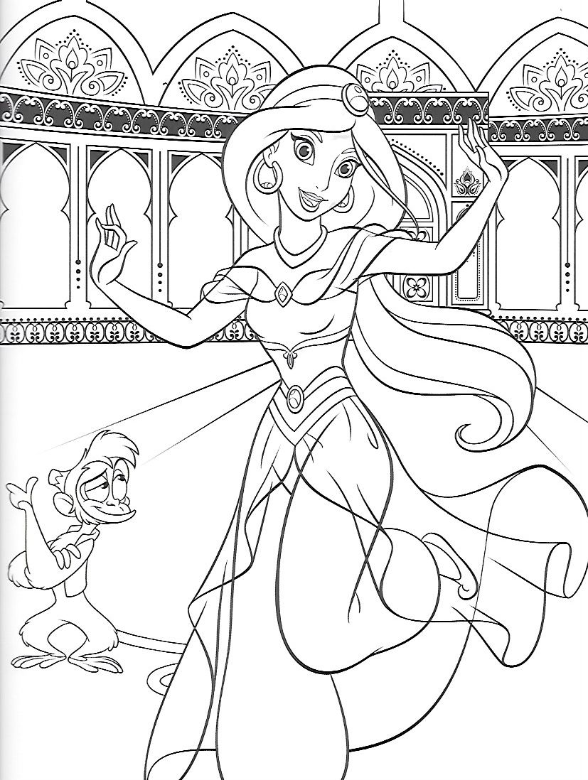 Aladdin Colouring Page 4
