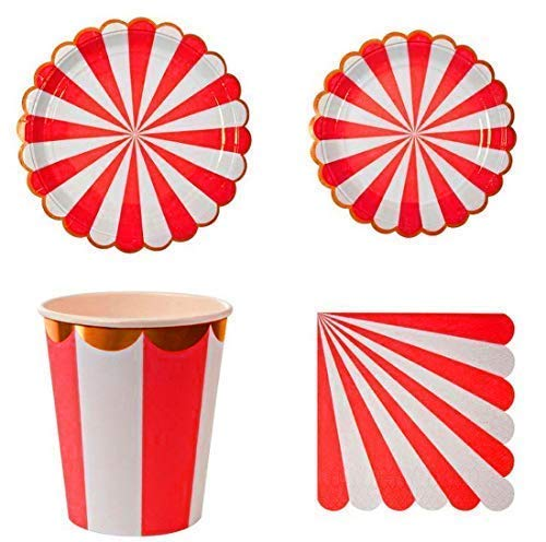 - Striped party tableware on Amazon for £13.99