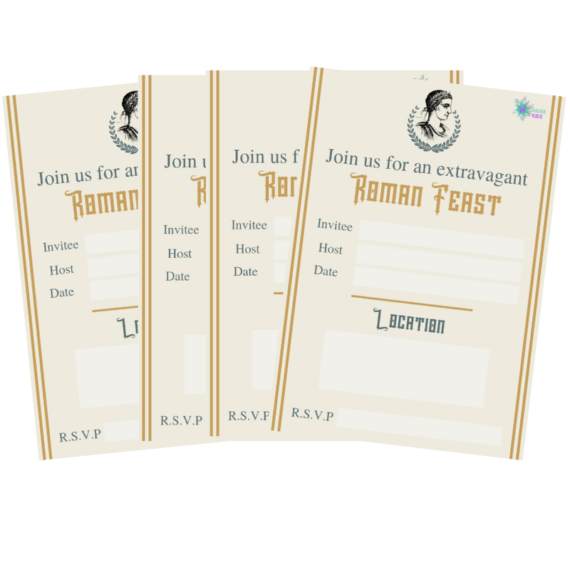- Roman Party Invites can be found in our Invite Library