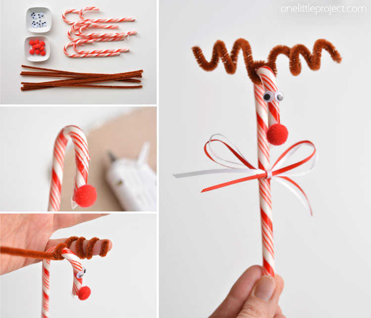 Candy Cane Reindeer - Full tutorial to make these adorable decorations, great Christmas activity to make with kids at home or for teacher gifts.