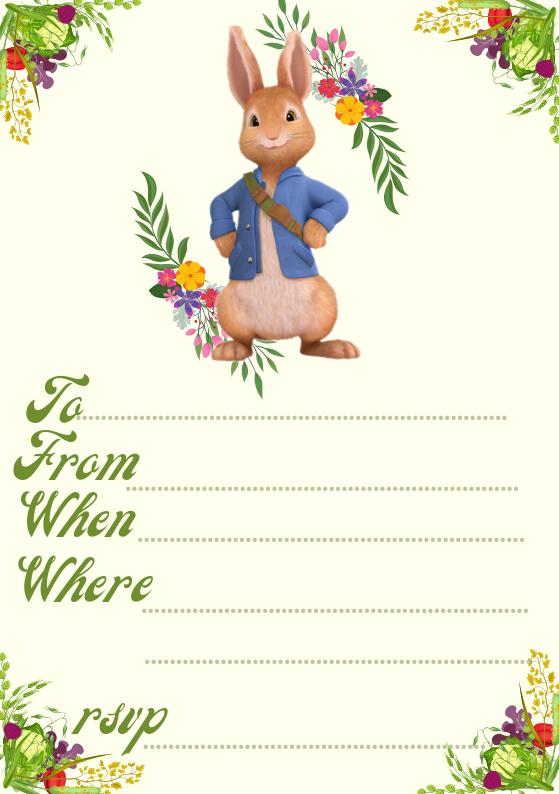 Peter Rabbit Party Invite