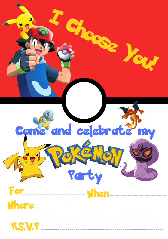 It is a graphic of Pokemon Party Invitations Free Printable pertaining to aloha party