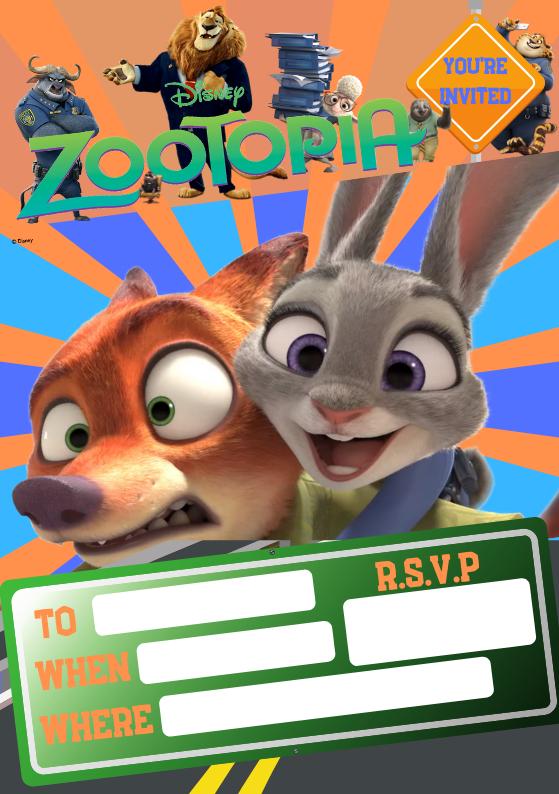 Zootopia Invite