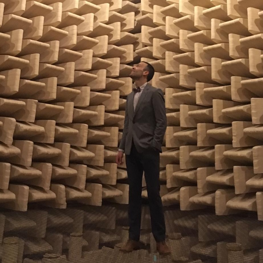 In the anechoic chamber at TU Delft, Netherlands (Photo Credit:  Rolf Hut ).