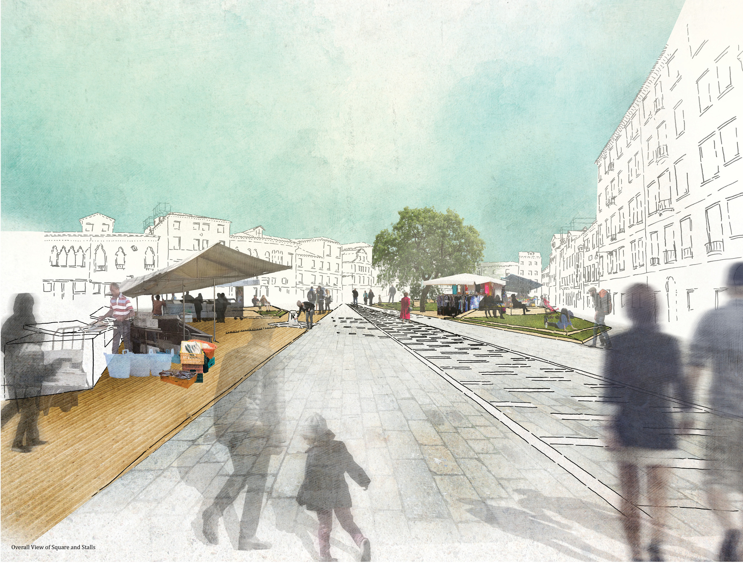 Overall View of Campo Santa Margherita with Stalls