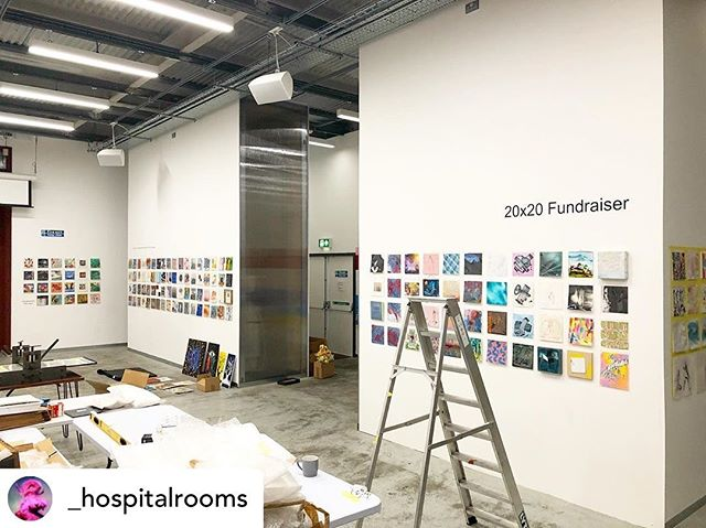 Don't miss!!! @_hospitalrooms tonight at @_elephant west - you can bag yourself a brilliant 20x20 artwork for £50 (with all proceeds going to toward their 2020 projects in mental health units across the country), and see films and artworks relating to their recent project at Hellingly Centre and more.  all welcome. 6pm - midnight, with 20x20s being sold from 6:30pm.  Elephant West is next to White City tube station.  #elephantwest @aceagrams #20x20fundraiser #hospitalrooms