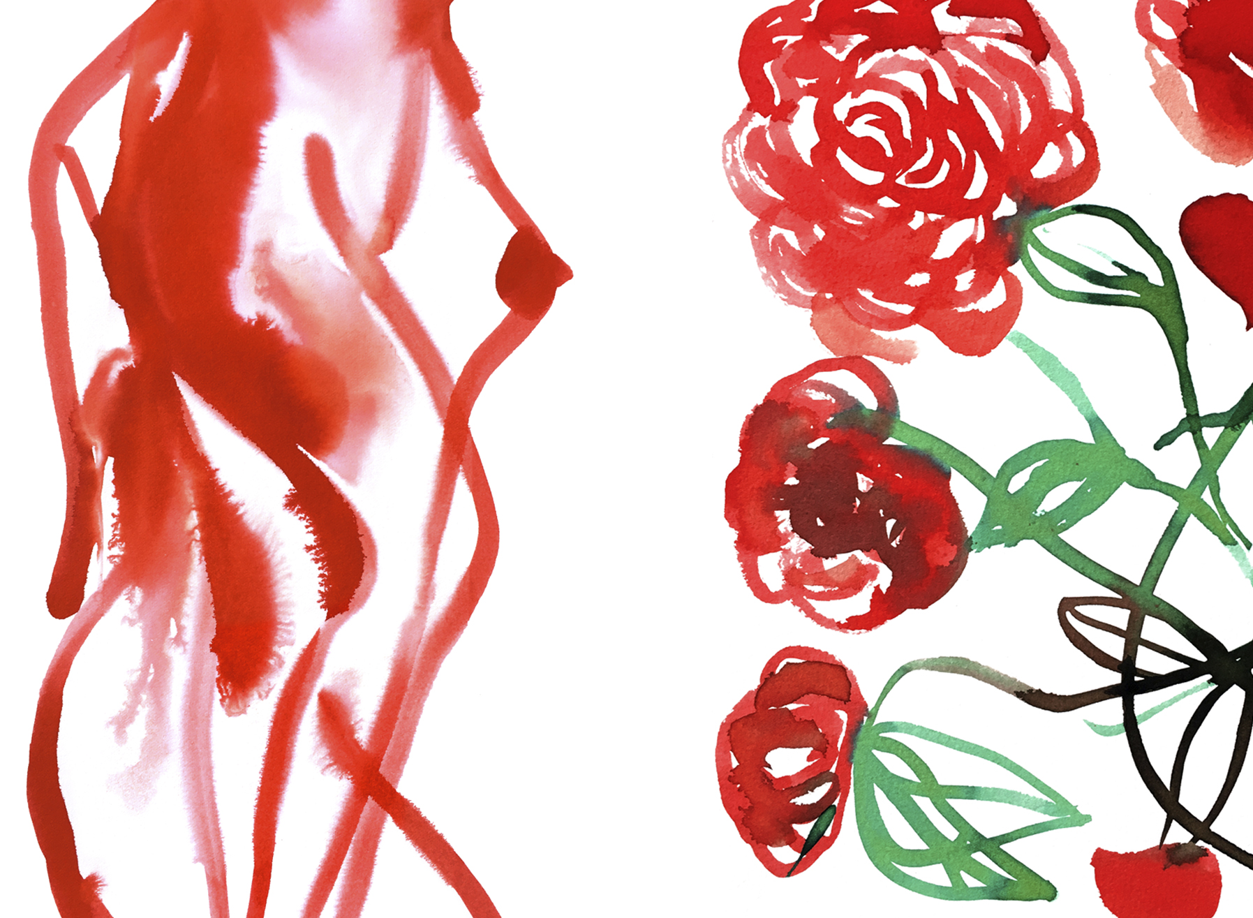 ...And daisies, and blue bells, and peonies.I was recently sorting through some sketches and noticed a parallel between my drawings of women and flowers, so I humored the thought and made these compositions that make me think of scent and fragrance. -