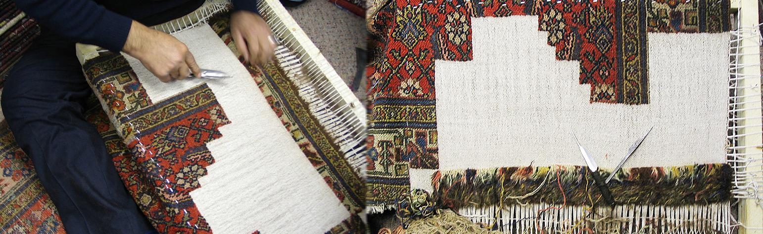 Oriental rug restoration on a Persian rug.