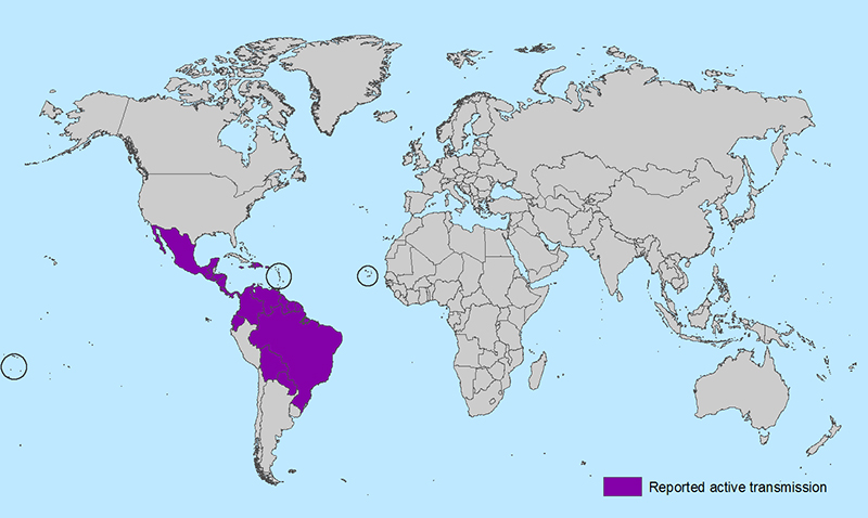 This map from the CDC shows areas affected by Zika virus outbreak