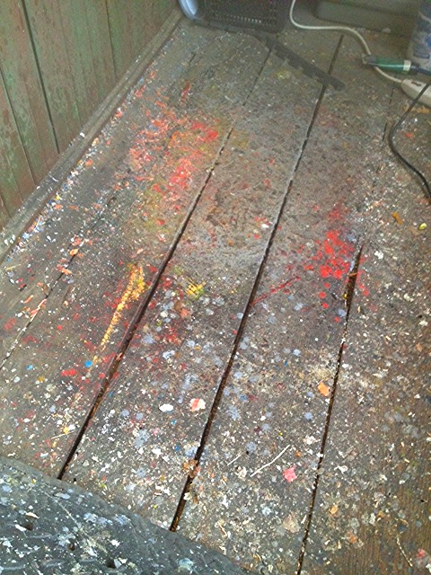 Old floor boards (now splattered with wax)